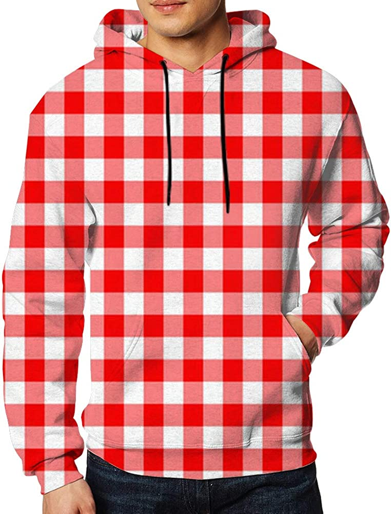 Red Gingham Texture Rhombussquares Adult Hooded Sweatshirt Pullover Mens