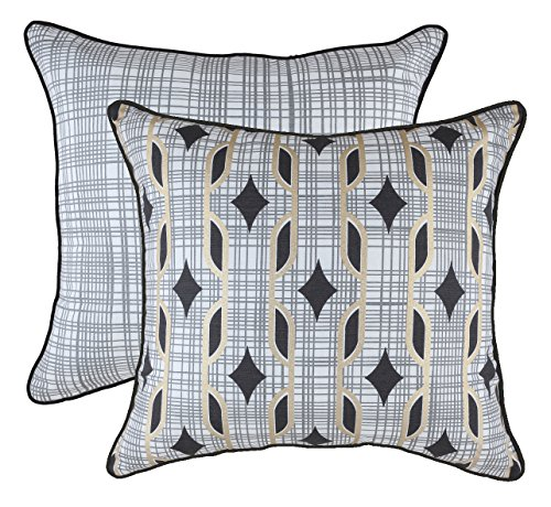 TreeWool Decorative Square Throw Pillow Covers Set Golden Foil Diamond Accent 100% Cotton Cushion Cases Pillowcases with Piped Edges (18 x 18 Inches / 45 x 45 cm; Black & White) - Pack of 2