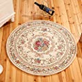 European Countryside Round Area Rug for Living Room Bedroom Computer Floral Carpet