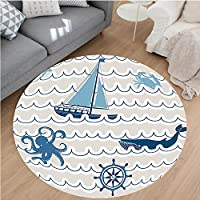Nalahome Modern Flannel Microfiber Non-Slip Machine Washable Round Area Rug-ern With Nautical Elements Icons Octopus Crab Starfish And Whale Artwork Beige Blue White area rugs Home Decor-Round 24