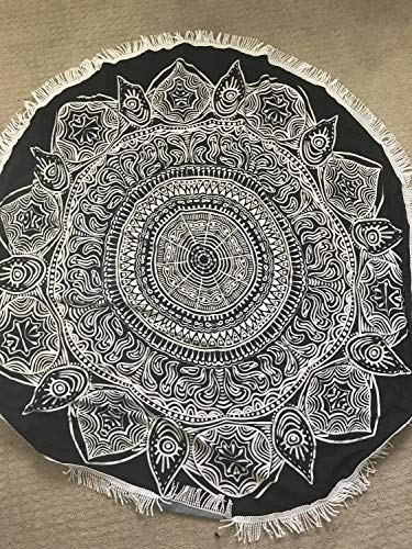 Black and White Mat Mandala or Yoga Mat Mandala Ohm Meditation Mat Bohemian Design Round Blanket