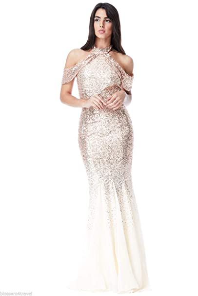 eb9f191d4870 Goddiva Champagne Gold Sequin Chiffon Inserts Maxi Evening Long Dress Prom  Party Bridesmaid Ball (12): Amazon.co.uk: Clothing