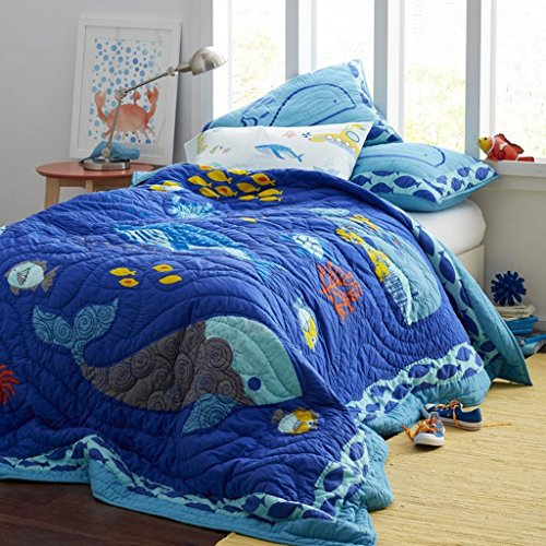 Handmade Pure Cotton Quilt Set 100% Cotton 3-Piece Bedspread Queen/Full Size Blue Colors Bedding Set Handcrafted sea world Themed Quilt for Kids