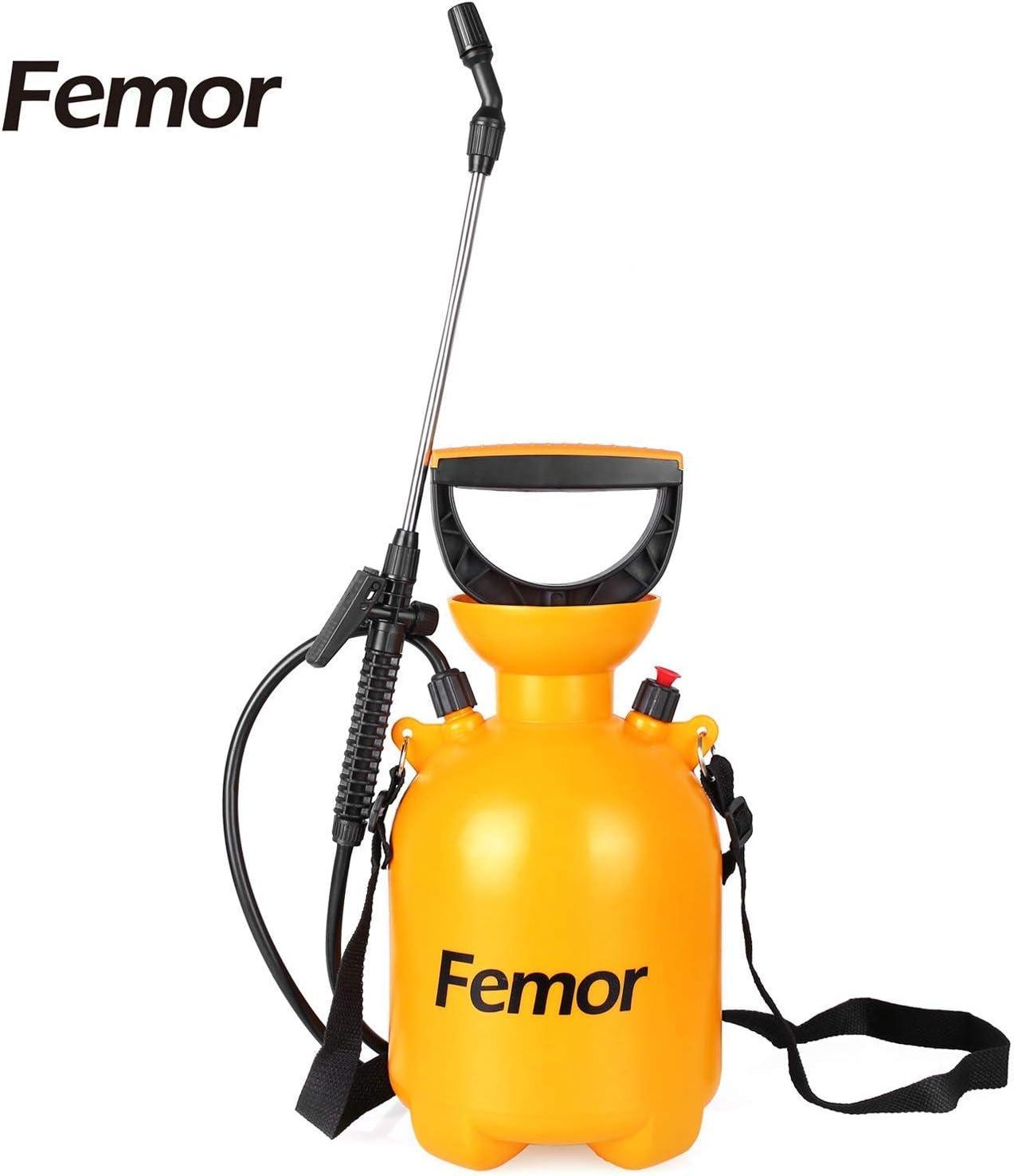Femor Pulverizador de Presión Rociador con Bomba de Presión de Jardín con Boquilla Ajustable y Correa de Hombro Capacidad de 12L/3L/1,5L Color Naranja (3L)