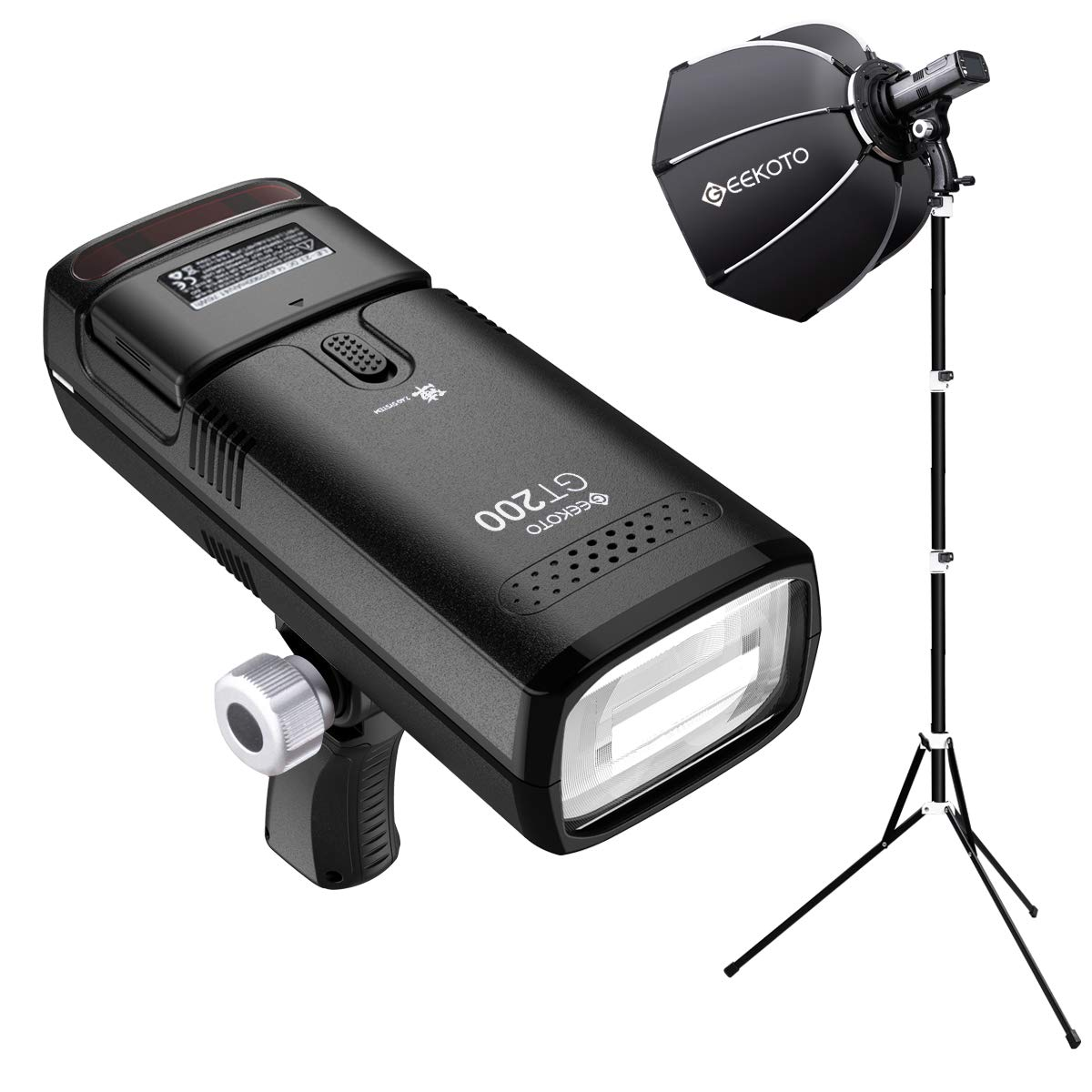 GEEKOTO Flash Speedlite Kit 200W TTL 2.4G Flash Strobe Light with Quick Release Softbox 1/8000 HSS Cordless Monolight with 2900mAh Battery and Provide 500 Flashes in 0.01-2.1 sec by GEEKOTO