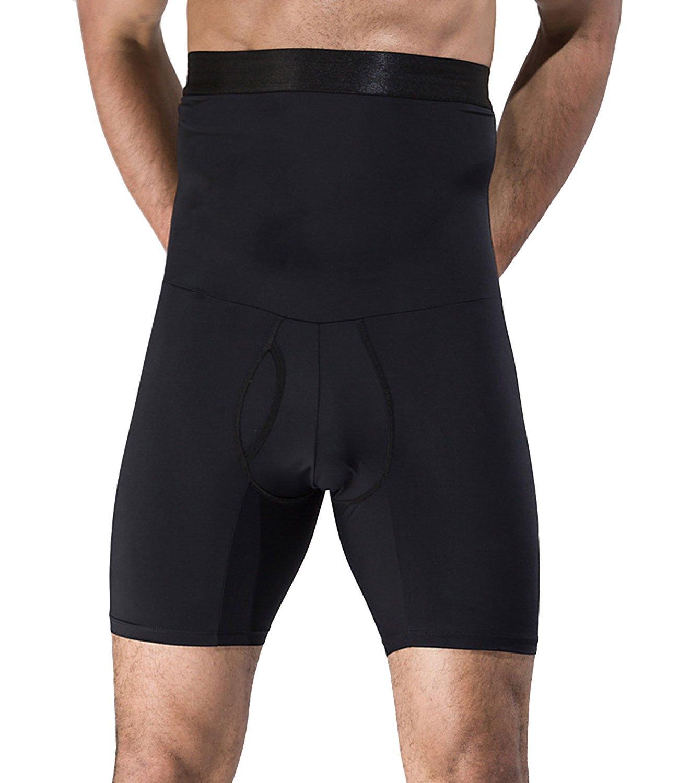 SAILORSTAR Men's High Waist Slimming Body Shaper Tummy Control Shapewear Waist Abdomen Trimming Boxer Brief (Large/36.22-42.13inch Waist, Black)