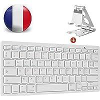 AGPTEK Clavier AZERTY sans Fil Bluetooth avec Un Support en métal, Clavier français sourdine avec Support métallique pour Mac, IPad, Tablette, Téléphone