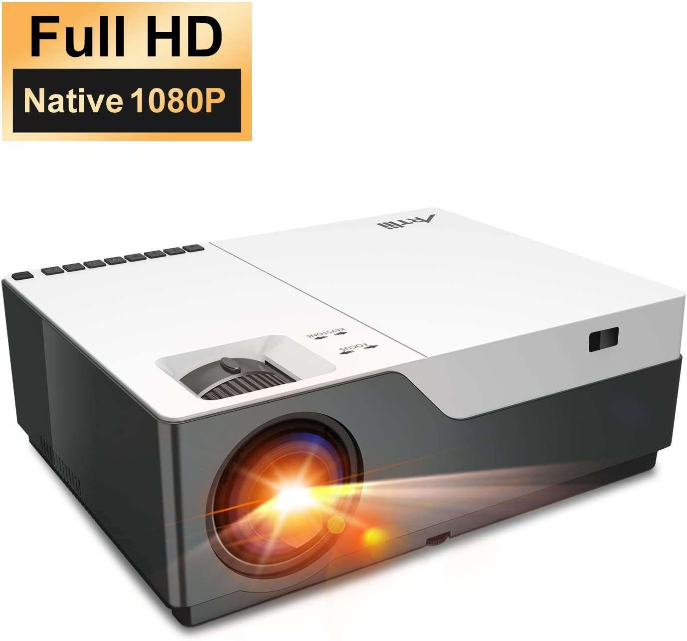 Projector, Artlii Full HD 1080P Projector Support 4K, 6500 lumens 300