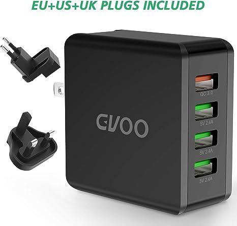 GVOO QC 3.0 Cargador USB 4 Puertos 40 W/5 V 8 A Cargador rápido ...