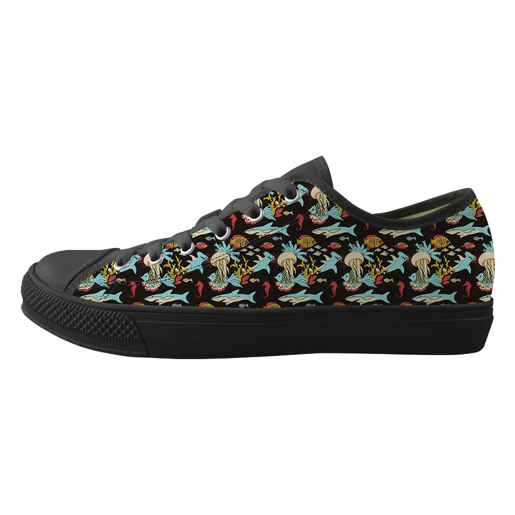 Classic Sneakers Unisex Adults Low-Top Trainers Skate Shoes Shark Hammerhead Shark Undersea Creature