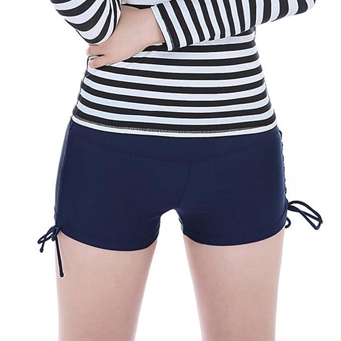 DELEY Mujeres Dama Niñas Sólido Color Mini Shorts Deportes Pantalones  Cortos Running Yoga Braguitas Traje de Baño Playa Bikini Ropa de Baño   Amazon.es  Ropa ... 3c0521e53c287