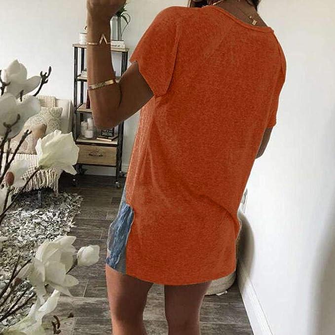 JiaMeng Mujeres Casual Blusa de con Cuello EN V Blusas de Manga Corta con Cuello Redondo y Botones Sueltos de Verano Top: Amazon.es: Ropa y accesorios