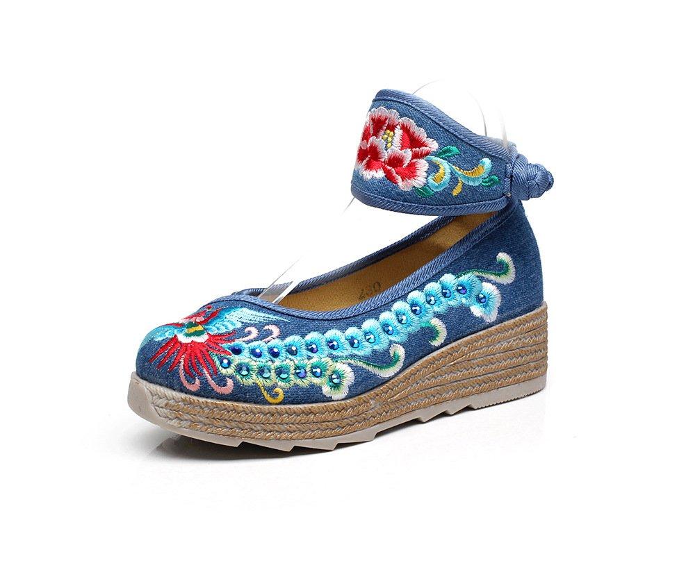 Chnuo Frühling Sommer damen Besteickte schuhe schuhe schuhe aus Gestickte Schuhe Leinen Sehnensohle ethnischer Stil erhöhte weibliche Schuhe Mode bequem lässig c3f003