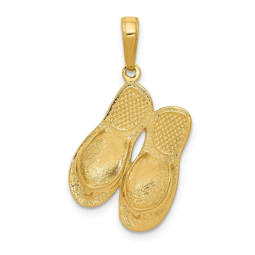 f7ad51a85ce7f Amazon.com: 14K Yellow Gold 3-D Maui Aloha Flip-Flops Pendant from ...