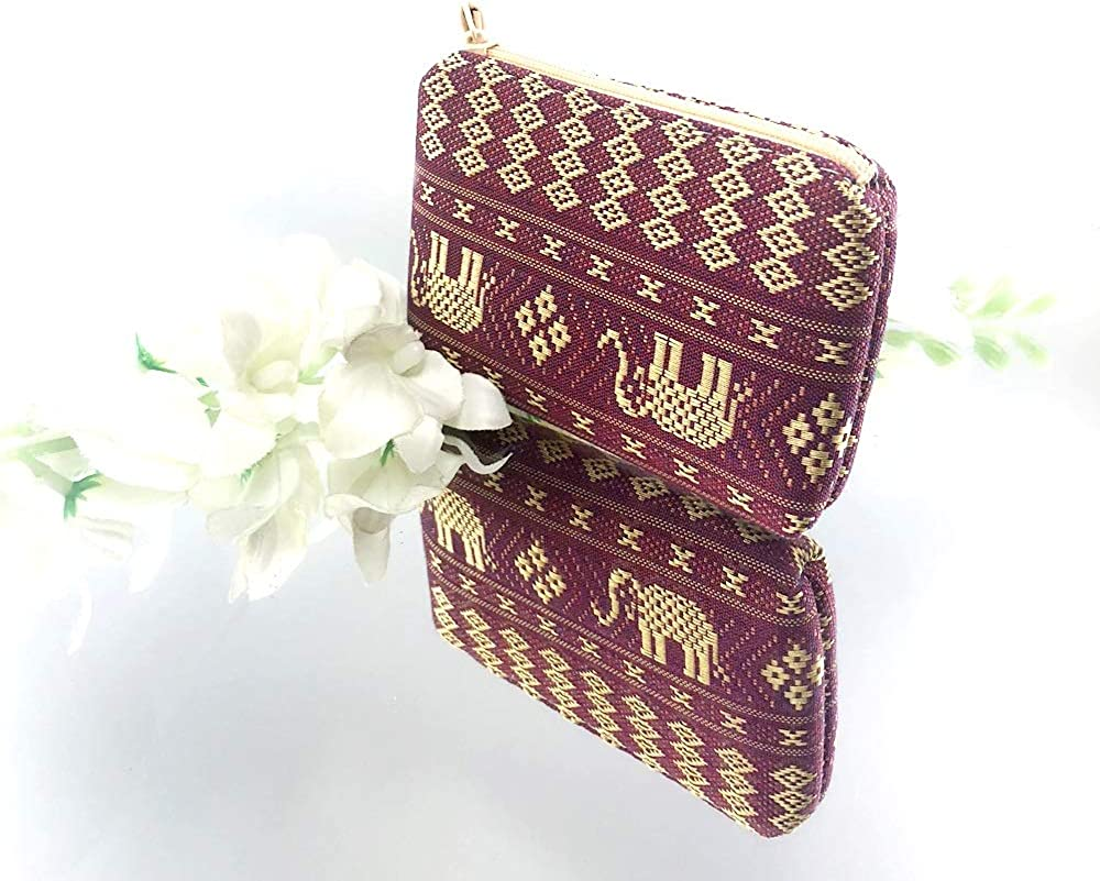 Pueng Star Purple Thai Elephant Bag Purse Coin Wallet Zipper Handmade Pocket Money