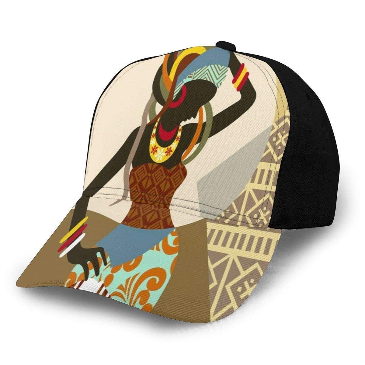 Art Design African Women Lightweight Unisex Baseball Caps Adjustable Breathable Sun Hat for Sport Outdoor Black