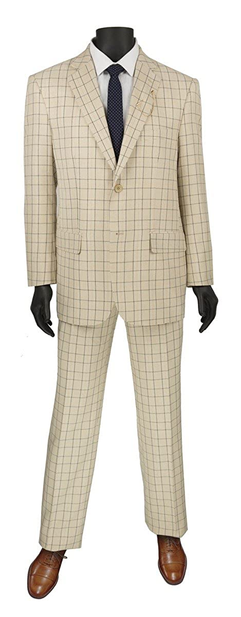 Retro Clothing for Men | Vintage Men's Fashion VINCI Glen Plaid Pattern 2 Button Single Breasted Regular Fit Suit 2RW-5 $110.99 AT vintagedancer.com