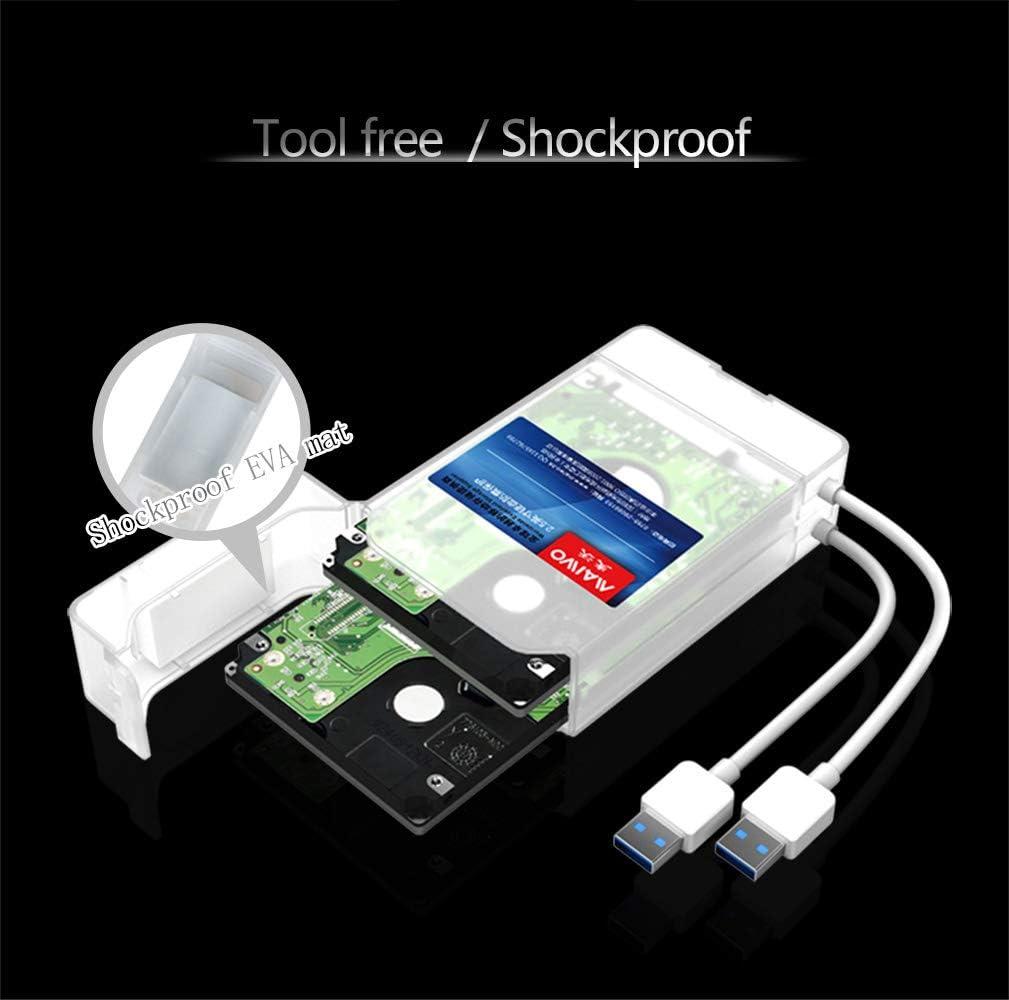 麦沃 2.5-Inch SATA to USB 3.0 Dual-disc Tool-Free External Hard Drive Enclosure White,3TB MAIWO K1042 Optimized for SSD, Support UASP SATA III Two White Drive Lines