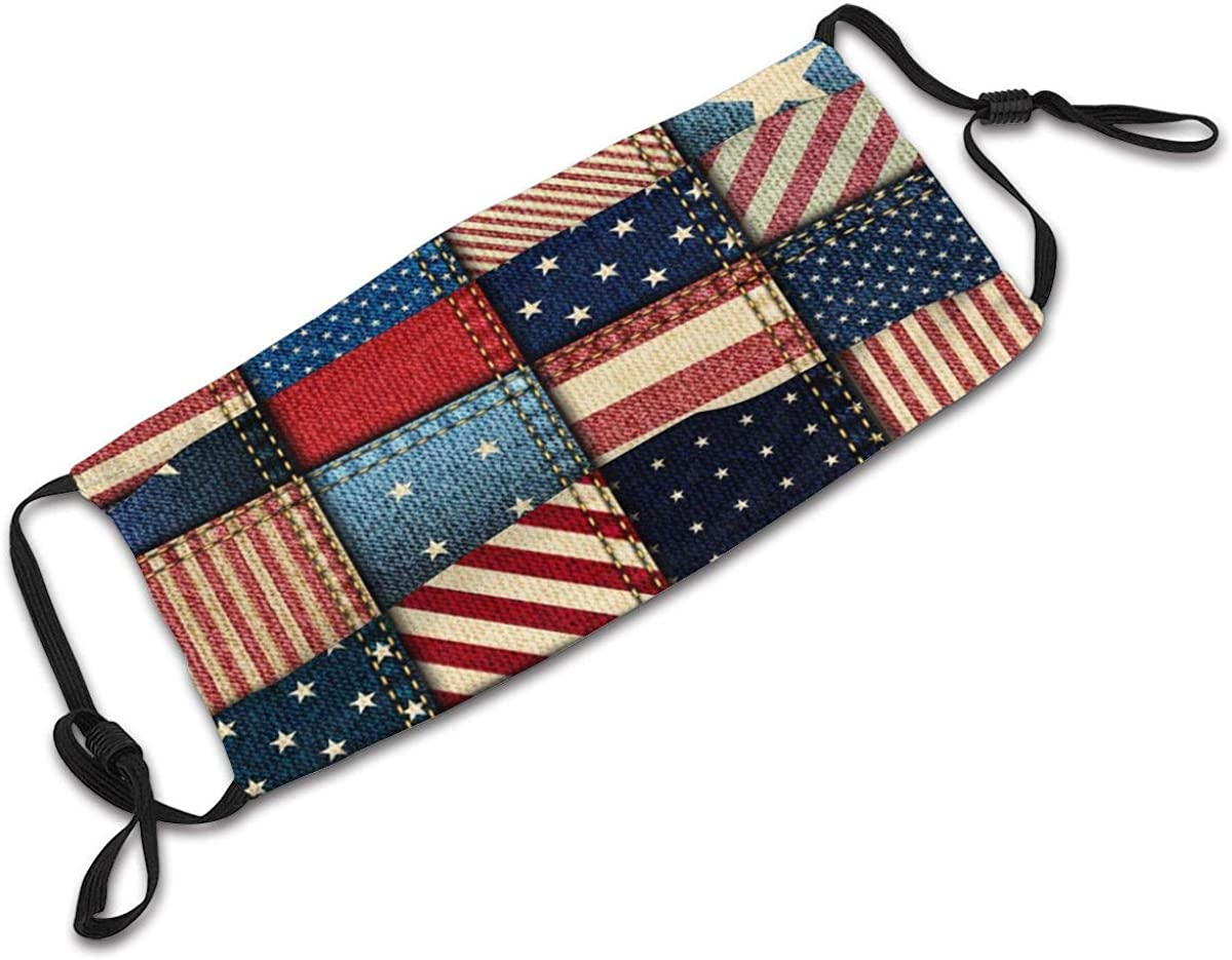 MEKIDA Apparel American Flag Stars and Stripes Fashion Face Ma Dust Mouth Ma Half Headwear with Filter for Outdoor