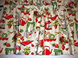 Retro 1950's Kitchen Valance Curtain Window Treatment Red Green Yellow on Cream Mid Century For Sale