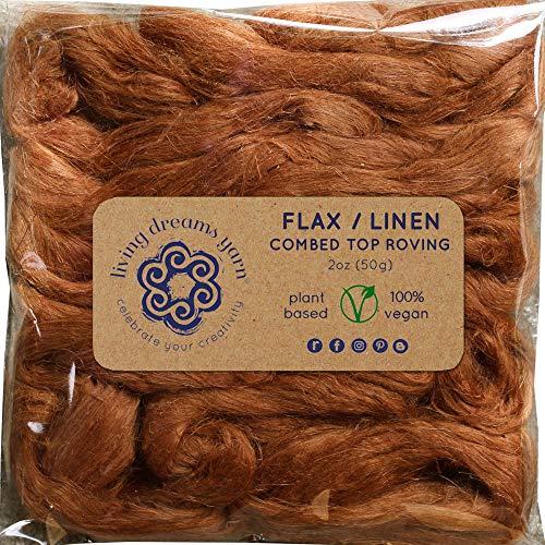 - Flax Fiber for Spinning, Blending, Fiber Arts. Natural Vegan Combed Top. Bronze