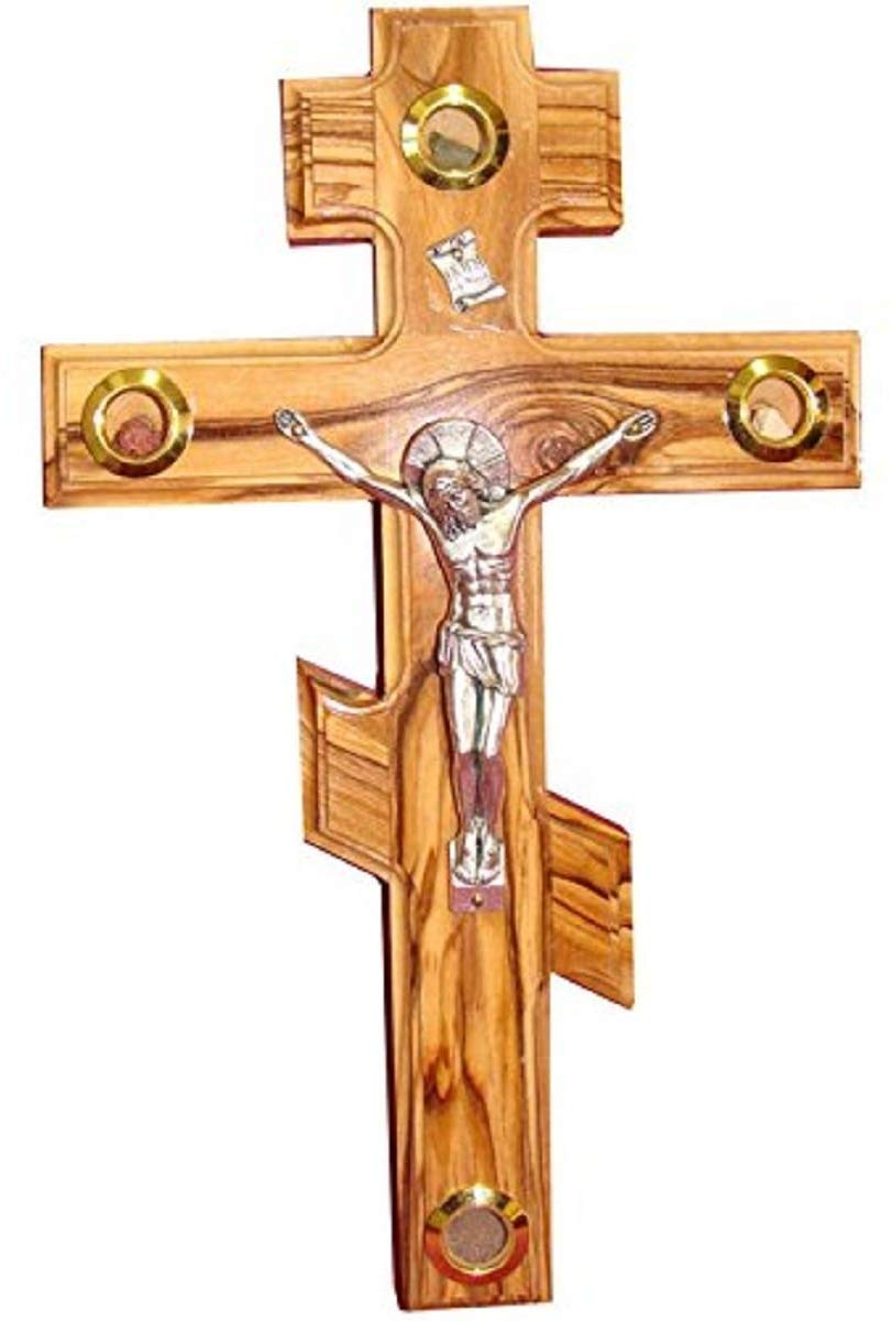 Bethlehem Gifts TM Handcarved from Bethlehem Olive Wood Cross Crucifix Russian Orthodox Crucifix, 10