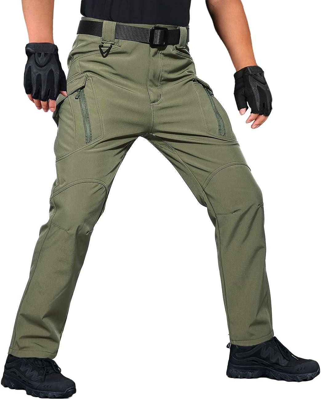 Mens Thick Fleece Thermal Trousers Tactical Waterproof Outdoor Combat Work Pants