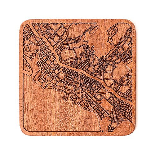 Honolulu Map Coaster by O3 Design Studio, 1 piece, Sapele Wooden Coaster With City Map, Handmade, Multiple city optional -