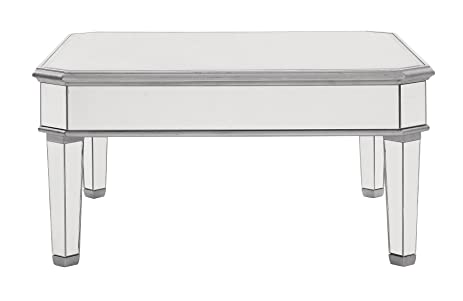Charmant Mirrored Square Coffee Table In Silver Finish 38 In. X 38 In. X 19