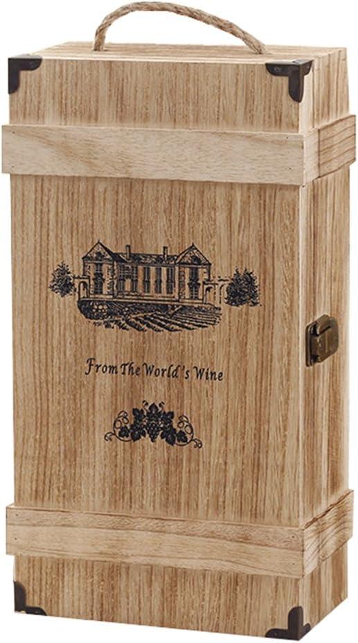 NSHK Caja Rústica De Madera del Vino De La Caja Doble del Vino De Almacenamiento del Viaje De La Caja del Vino De Paulownia Que Exhibe La Caja De La Decoración,B: Amazon.es: