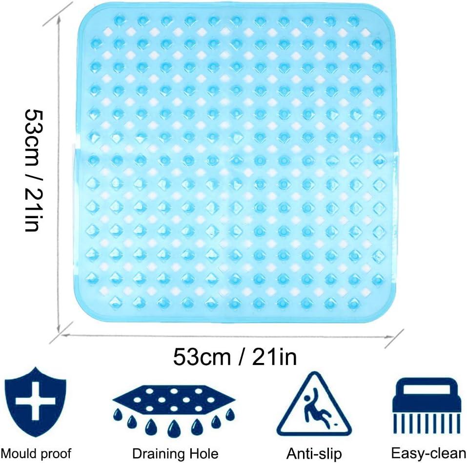 53 /× 53 cm Antideslizantes con Ventosa Alfombrilla de ba/ño Lavar a Maquina Alfombra de Ducha antibacteriana con Orificios de Drenaje XIYUNTE Alfombrillas de Ducha cuadradas