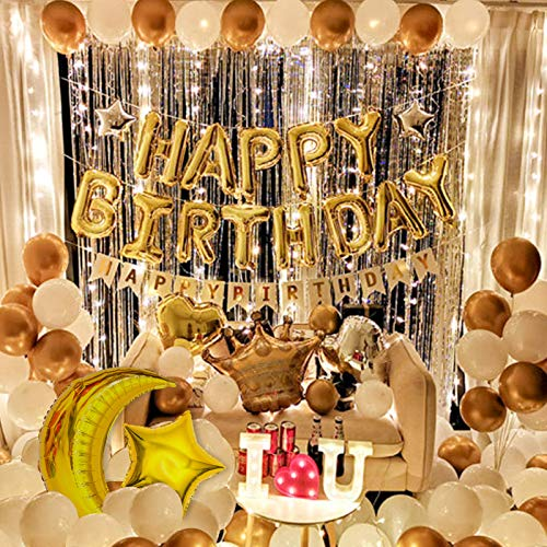 Birthday Party Decorations For Adult Golden Theme Luxurious Lighting Party Supplies Including Happy Birthday Balloon, Birthday Banner, Age Digital Balloon, Tassel Curtain And Light String Total 70 Pcs