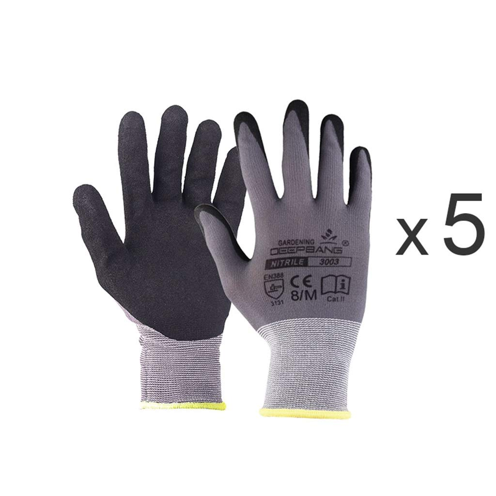 YANGBM Gardening Gloves, Non-Slip, Stab-Resistant, Cut-Proof, Wear-Resistant, Multi-Functional Breathable Protective Gloves Gardening Gloves (Color : 5pair, Size : L)