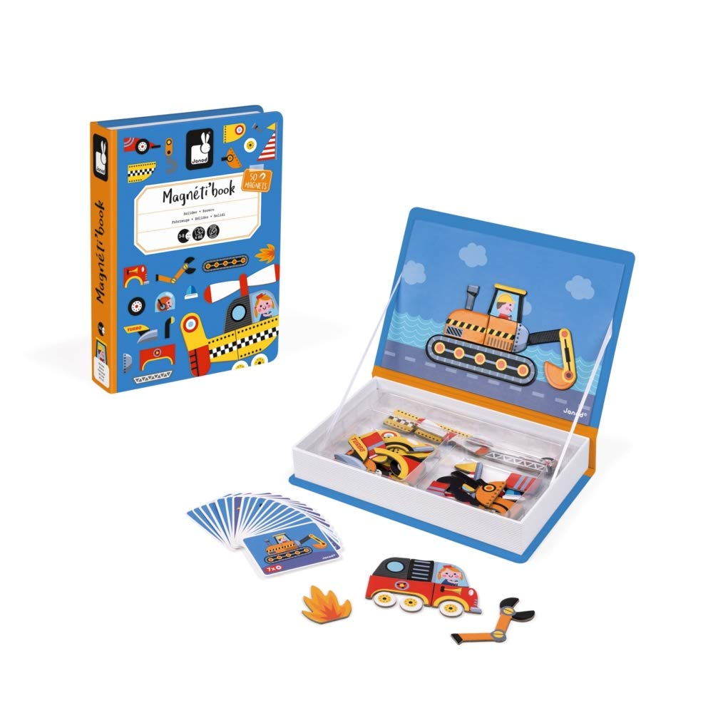 Janod MagnetiBook 69 pc Magnetic Racer Vehicles Game for Imagination Play - Book Shaped Travel/Storage Case Included - S.T.E.M. Toy for Ages 3+ by Janod