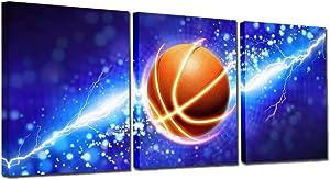 3 Panel Blue Lightning Basketball Camvas Wall Art Paintings for Boys Room Decals,Framed,12x16inchx3 (Blue Basketball)