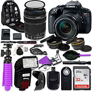 Canon EOS Rebel T7i DSLR Camera with Canon 18-135mm IS STM Lens, Auxiliary Panoramic and Telephoto Lenses, 32GB Memory + Accessory Bundle