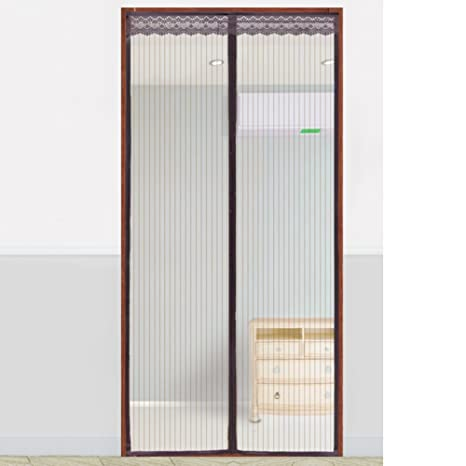 Screen Door Mesh Door Curtain Fiberglass Magnetic Panel Drapes Full Frame  Velcro French Back Keep Out