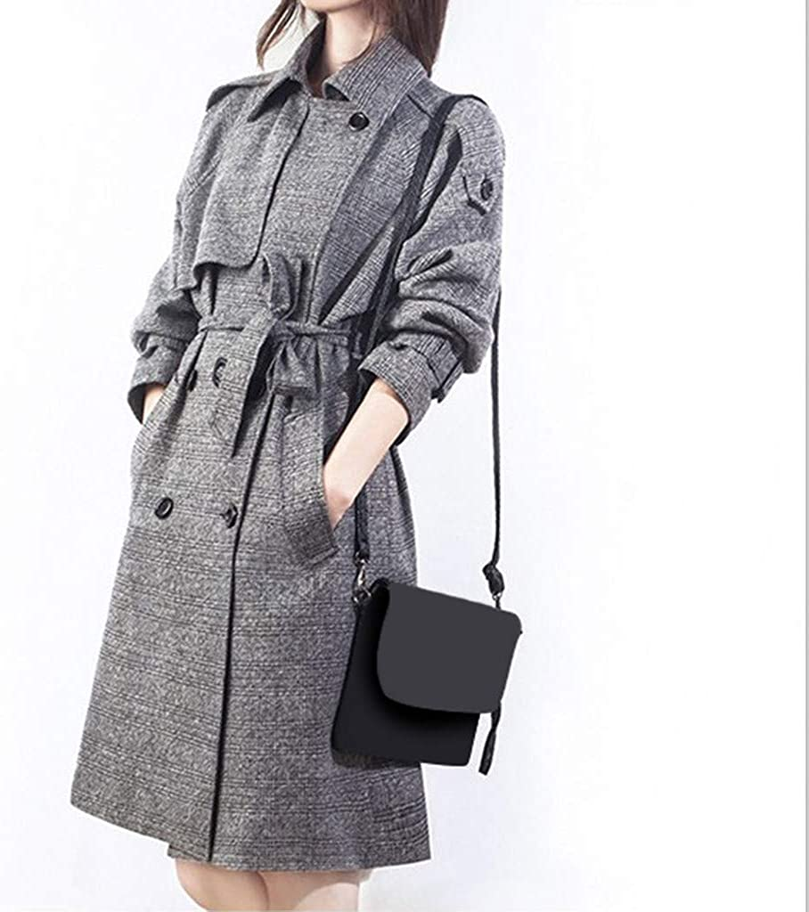FRAUIT Elegant Wollmantel Damen Revers Parka Schwarz Mantel mit G/ürtel Mittellang Trenchcoat Cardigan Pl/üschjacke Winter Jacke Slim Outwear