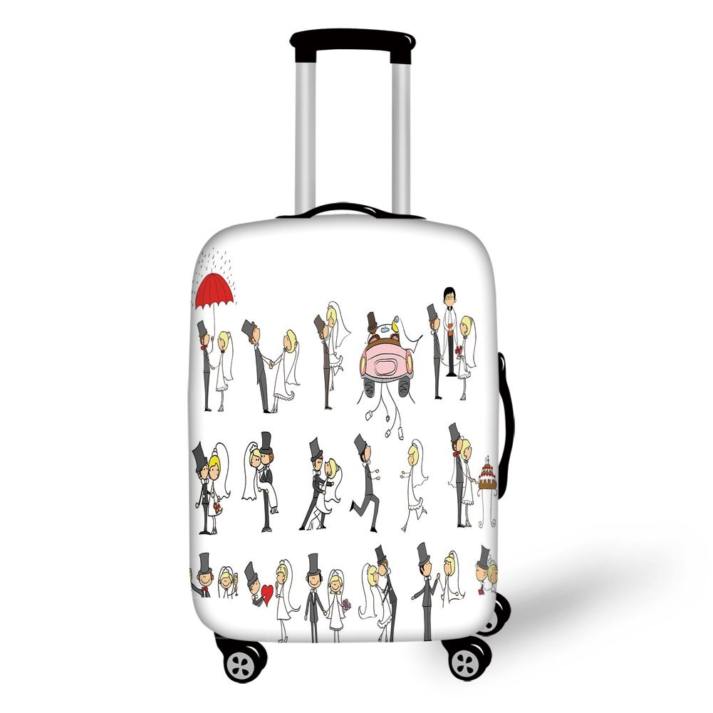 Travel Luggage Cover Suitcase Protector,Wedding Decorations,Set of Wedding Themed Caricatures Funny Happy Valentines Cartoon Style,Multicolor,for Travel