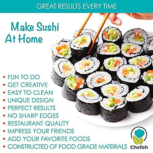 All-In-One Sushi Making Kit | Sushi Bazooka, Sushi Mat & Bamboo Chopsticks Set | DIY Rice Roller Machine | Very Easy To Use | Food Grade Plastic Parts Only | Must-Have Kitchen Appliance by Chefoh (Image #5)