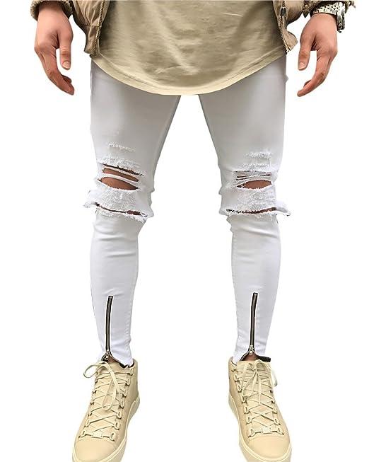 Hombre Casual Pantalones Vaqueros Rotos Super Skinny Fit ...