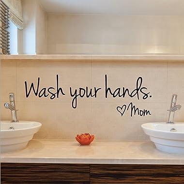 Imprinted Designs Wash Your Hands Love Mom Quote Bathroom Wall Stickers Waterproof Art Vinyl decal bathroom wall decor