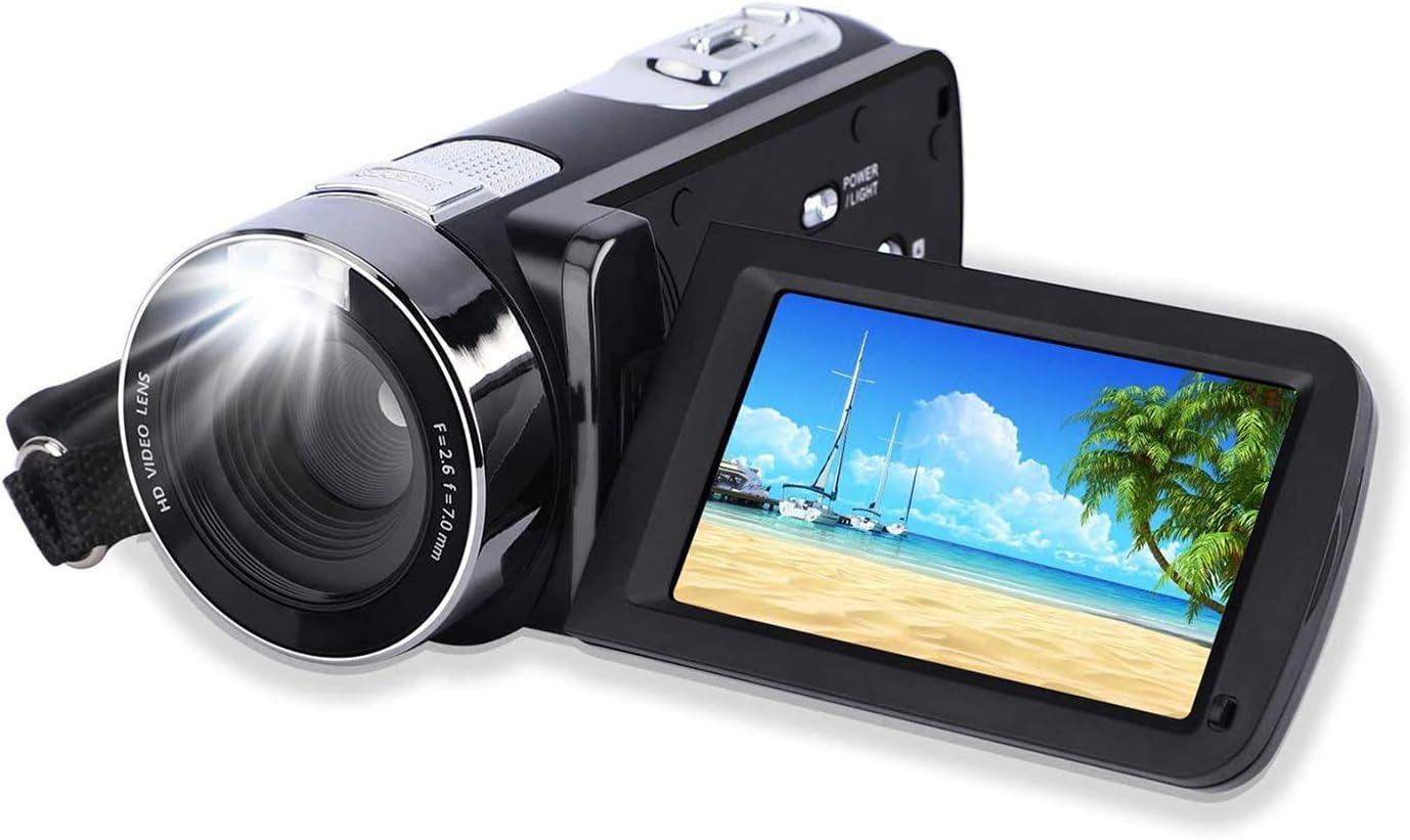 Videocámara 24MP FHD 1080P YouTube Vlogging cámara de vídeo con pantalla de 3,0 pulgadas con rotación de 270 grados, zoom digital 18x