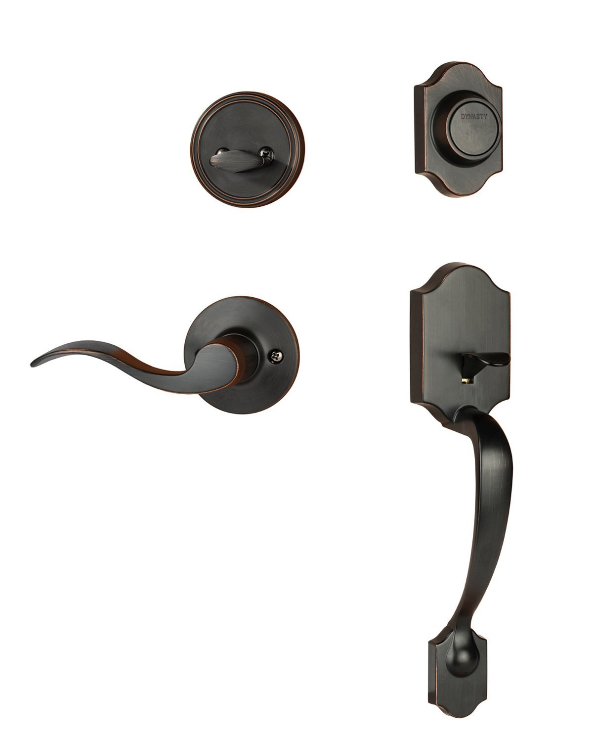 Dynasty Hardware DEN-HER-405-12PR Denver Front Door Dummy Handleset, Aged Oil Rubbed Bronze, with Heritage Lever, Right Hand