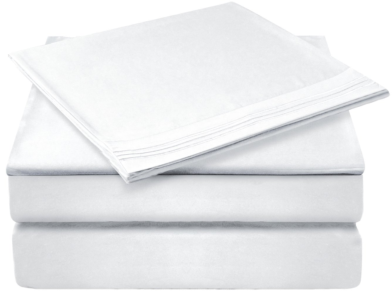 Glee&Cluster 4 piece Deep Pocket Bed Sheets Set Soft Brushed Microfiber Fade, Stain and Wrinkle Resistant, Hypoallergenic Sheet Bedding,1 Fitted Sheet,1 Bed Sheet and 2 Pillowcases (White,Queen)