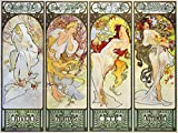 Poster girl four-season frame by Alphonse Mucha Tile Mural Kitchen Bathroom Wall Backsplash Behind Stove Range Sink Splashback 4x3 6'' Marble, Matte
