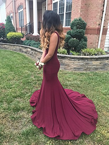 Prom Mermaid Back V Evening turquoise Long Sexy Deep A MARSEN Neck Women's Dreses EzaqYOw
