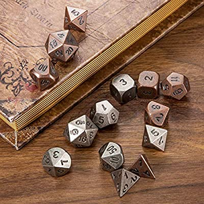 Jovitec 14 Pieces Metal Solid Zinc Alloy Game D&D Dices Set Durable Polyhedral Dice with Printed Numbers and Velvet Storage Bags for Game, Dungeons and Dragons, RPG, Math Teaching (A): Toys & Games