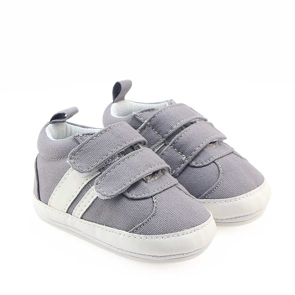 Isbasic Canvas Sneakers Shoes for Baby Boys Girls Toddler Non-Slip Rubber Sole Casual Infant Trainer (6-12 Months, Gray) by Isbasic (Image #4)