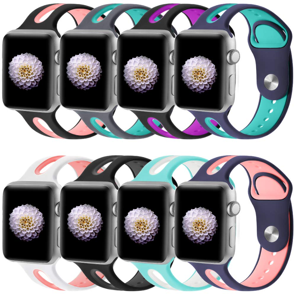 KOLEK Sport Bands Compatible with Apple Watch 42mm, Soft Silicone Replacement Bands Compatible with iWatch, M/L, 8 Pack